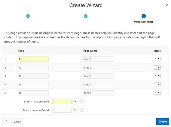 APEX creating wizard