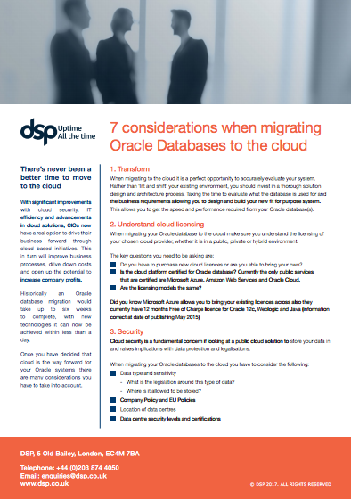 7 considerations when migrating Oracle Databases to the Cloud