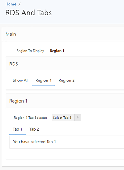 Dynamic Selection of Tabs and Region Display Selectors
